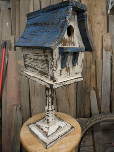 Vintage Birdhouse Antiqued Rustic Shabby Chic Styled Birdhouse Functional | eBay