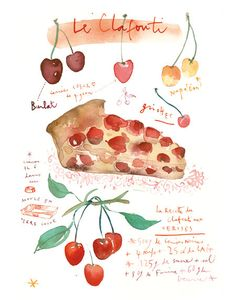 Kitchen art print Pie recipe illustration French Cherry cake 8X10 print Watercolor fruit poster Food art Red Home decor French kitchen. $25.00, via Etsy.