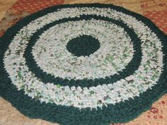 "Hand Made Crochet Rag Rug ~NEW 32"" Round EVERGREEN Shabby Country! #ragrugevergreen"