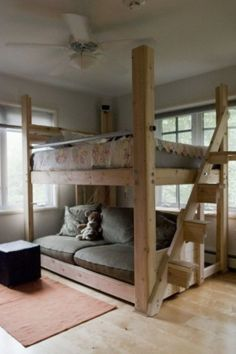 Cool and Fun Loft Beds for Kids Loft Bed- this one is done in a more adult fashion. Great for urban living. Perfect for a studio apartmentLoft Bed- this one is done in a more adult fashion. Great for urban living. Perfect for a studio apartment Dream Bedroom, Girls Bedroom, Bedroom Ideas, Bedroom Loft, Bedroom Apartment, Master Bedroom, Loft Room, Cozy Apartment, Bedroom Small