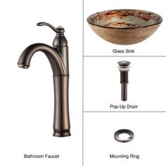 KRAUS Vessel Sink in Ares with Riviera Faucet in Oil Rubbed Bronze-C-GV-651-12mm-1005ORB at The Home Depot