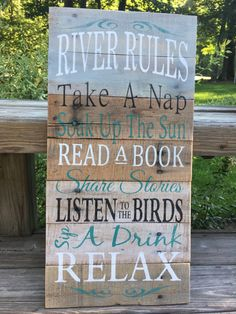 Rustic sign 'River Rules' lake house decor by Rusticpalletshop1