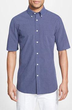 Men's Nordstrom Regular Fit Short Sleeve Windowpane Sport Shirt