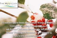By Westcliff Hotel @hotel_westcliff It's not too late to book a last minute Winter Wedding...  Complete Wedding Package £1999.00 ask for our Christmas Brochure full details http://www.westcliff-hotel.co.uk/