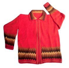 Rote Damen #Strickjacke mit Zackenmuster, peruanische #Alpakawolle