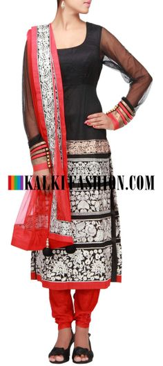 Buy Online from the link below. We ship worldwide (Free Shipping over US$100) http://www.kalkifashion.com/black-straight-fit-suit-embroidered-in-resham-and-zari-only-on-kalki.html Black straight fit suit embroidered in resham and zari only on Kalki