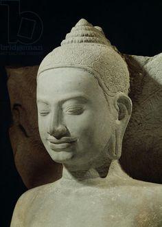 Buddha in Meditation on the Naga King, Mucilinda, detail of Buddha's head, from Preah Khan, Bayon style, 12th-13th century (sandstone)