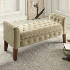 Storage Bench With Cushion, Tufted Storage Bench, Entryway Bench Storage, Bed Storage, Entry Bench, Blanket Storage, Entry Hallway, Smart Storage, Fabric Storage