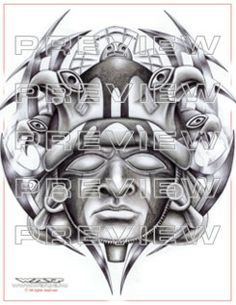 amazing prehispanic warrior face tattoo design