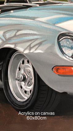 Racing Car Design, Sports Car Racing, Sport Cars, Jaguar E Type, Car Painting, Exotic Cars, Classic Cars, Automobile, Canvas