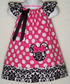 Minnie Mouse Dress / Demask + Pink & White Polka Dot / Disney Vacation / Mickey / Infant / Baby Girl/ Toddler/ Kids/Custom Boutique Clothing by KarriesBoutique on Etsy https://www.etsy.com/listing/197754053/minnie-mouse-dress-demask-pink-white