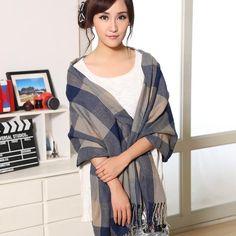 Women Blanket Plaid Scarf