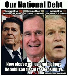 Started with Regan and it's gone out of control since then. Both Dems and Repubs.   But the Republicans are suppose to be the party of fiscal responsibility?