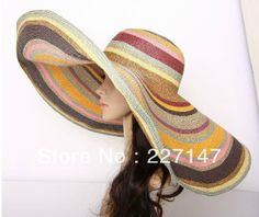 Free Shipping2013New -22 inch Lady's beach bikini fashion rainbow Summer Holiday wear snap back 10 inch wide Brim Straw hat $67.11