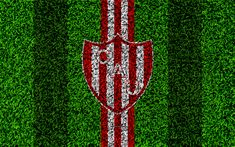 Download wallpapers Union de Santa Fe, 4k, football lawn, logo, Argentinian football club, grass texture, white red lines, Superliga, Santa Fe, Argentina, football, Argentine Primera Division, Superleague