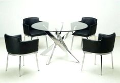 You'll love the sleek style of this five-piece dining set featuring a glass table top complemented by a chrome cross leg base. The club style bucket memory swivel chairs with matching chrome frames complete this contemporary set. Glass Dining Room Sets, Glass Round Dining Table, Modern Dining Table, Dining Table In Kitchen, Glass Table, Round Glass, Dining Area, Dining Rooms, Table And Chairs
