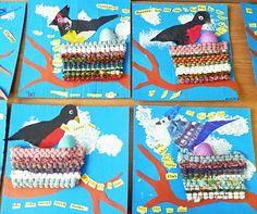 paper hyacinth, bird nests, woven nest, paint bird, lent
