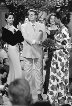 Yves Saint Laurent: Yves Saint Laurent after a presentation of his Fall collection in Paris in July 1984.