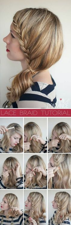 Lace braid. Somehow managed to do this while trying to do a side French braid...
