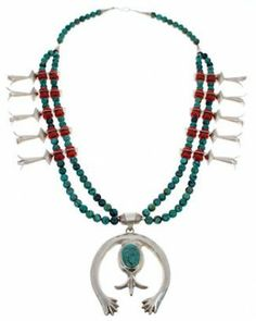 Coral And Turquoise American Indian Squash Blossom Necklace PX40547