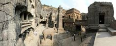Kailash Temple, Ellora Caves, India, dated from 600 to 1000 AD. There are 34 major caves atEllora -Cave 16, as shown here, is theKailasa Temple, a masterpiece ofrock-cut architecture and sculpture.