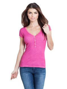 GUESS Sophia Cap-Sleeve T Shirt Henley Hot Pink