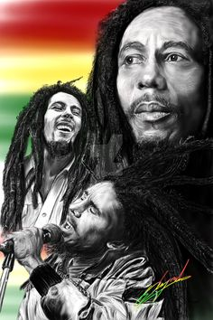 This digital drawing of Bob Marley was created for a friend. Drawn on the Wacom…