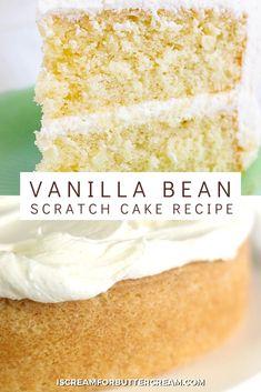 Moist Vanilla Cake Recipe From Scratch, Vanilla Layer Cake Recipe, Vanilla Bean Frosting, Vanilla Bean Cupcakes, Cake Frosting Recipe, Cake Recipes From Scratch, Easy Cake Recipes, Frosting Recipes, Cookie Cakes