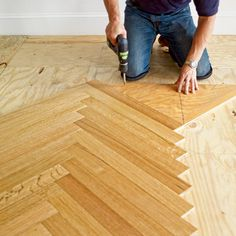 How to install a herringbone floor with pre-fabricated hardwood