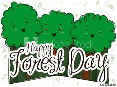 Happy Trees in a Party during Forest Day Celebration, Vector Illustration - Buy this stock vector and explore similar vectors at Adobe Stock Adobe, Vectors, Celebration, Trees, Explore, Day, Illustration, Image, Tree Structure
