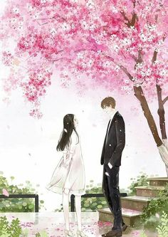 New sakura tree love ideas Cute Love Couple, Anime Love Couple, Cute Anime Couples, Couple Illustration, Illustration Art, Manga Art, Anime Art, Anime Scenery, Love Art