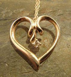 14K Yellow Gold Heart Diamond Pendant Necklace
