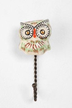 Ceramic Owl Hook $8 - Maybe I'll put this on the wall above the changing table to hang a change of clothes on