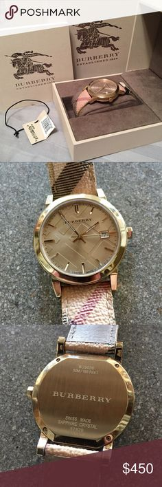 Burberry 🔥40% OFF W BUNDLE🔥 Gold Haymarket Watch Classic Burberry design with 38mm face. Gold metal with sapphire crystal face. Very gently used, with wear only on underside and edges of band. Comes with original tags, literature, box. Unisex. 9026 model. Burberry Accessories Watches