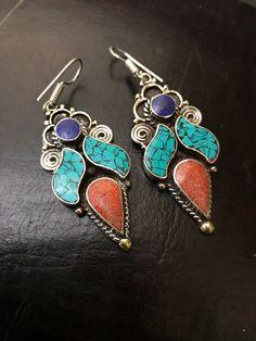 Turquoise earrings - Gypsy earrings - Tibetan Handmade Earrings  - Stone earrings - Oriental earrings - Tribal jewelry by Omanie on Etsy
