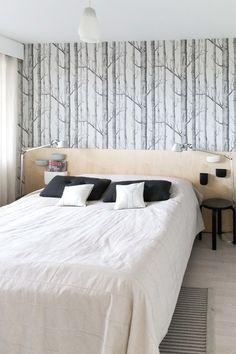 makuuhuone,tapetti,woodnotes,sängynpääty,sängynpääty diy