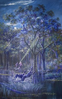 Bayou Coon Hunting Painting