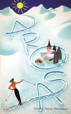 Vintage Posters: AROSA - Schweiz Suisse Switzerland, 1956 by Brun, Donald Vintage Ski Posters, Retro Poster, Vintage Ads, Basel, Ski Switzerland, Switzerland Tourism, Hotel Chalet, Funny Posters, Kunst Poster
