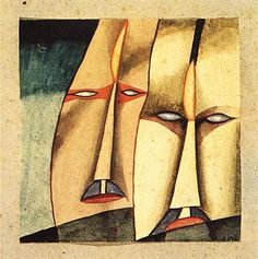 Dos, 1918 by Xul Solar. Max Ernst, Magritte, Art Database, Joan Miro, Wassily Kandinsky, Figurative Art, Caricature, South America, Abstract Art