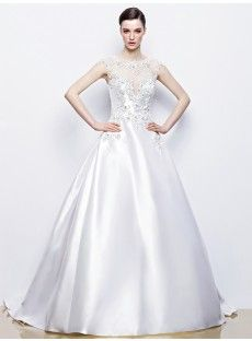 Jewel Chapel Train Satin Ball Gown Wedding Dress