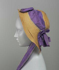 1855, America - Bonnet - Leghorn straw, ribbon