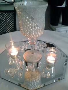 Pearls And Diamonds Centerpiece Pearl Centerpiececandle Centerpieceswedding Centerpiecespearl Birthday
