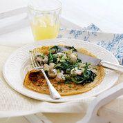 Rachel Allen's spinach and mushroom pancakes | Easy pancake recipes