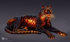Timba the Lava Tiger by Azany on DeviantArt Big Cats Art, Furry Art, Cat Art, Mythical Creatures Art, Magical Creatures, Creature Concept Art, Creature Design, Creature Drawings, Animal Drawings