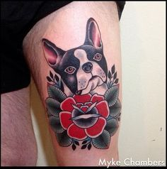French Bulldog and Flower