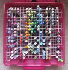 flourescent light plastic grid to store copics