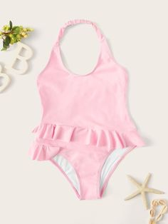 To find out about the Toddler Girls Ruffle Halter One Piece Swim at SHEIN, part of our latest Toddler Girl Swimwear ready to shop online today! Bikini Halter, Bikini Swimwear, Bikinis, Monokini, Best Baby Doll, Moda Kids, Bikini Ready, Girls Bathing Suits, One Piece Swim