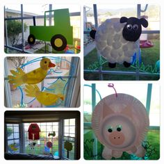 Farm themed window crafts. I try to have a new theme every few weeks for my toddler to help give us ideas for new games, crafts, vocab, books, etc. For the farm theme we did a lot of paper crafting for the window. Ducks, sheep and pig started as paper plates that we cut, painted and embellished with googly eyes (and cotton balls for the sheep). Tractor and a big red barn are from scrapbook paper. I used window markers to add dirt, water, or grass around each thing. There's a big paper tree…