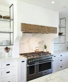 @marieflaniganinteriors - white and wood, kitchen design, metal and glass open shelving, marble backsplash, white kitchen