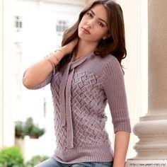 Романтический пуловер с изысканным ажурным узором (Вязание спицами) | Журнал Вдохновение Рукодельницы